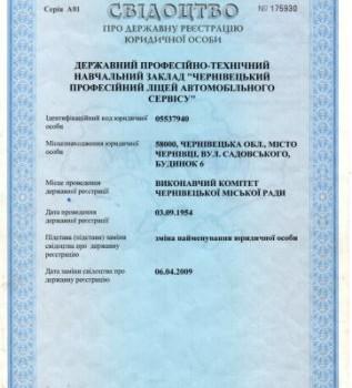 Свідоцтво про реєстрацію юридичної особи